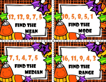 Mean, Median, Mode and Range Task Cards -  Halloween