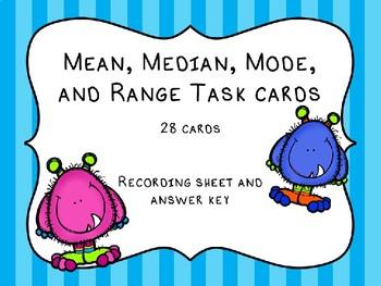 Mean, Median, Mode, and Range Task Cards; Measures of Central Tendancy