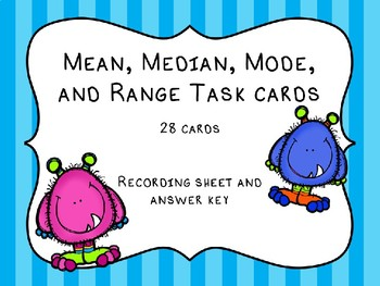 Mean, Median, Mode, and Range Task Cards; Measures of Central Tendancy