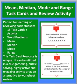 Mean, Median, Mode and Range Task Cards and UNIQUE Activity
