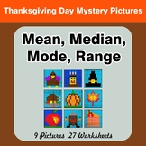Mean, Median, Mode, and Range - Thanksgiving Mystery Pictures