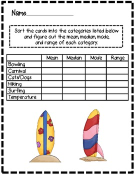 Mean, Median, Mode, and Range: Theme card activity