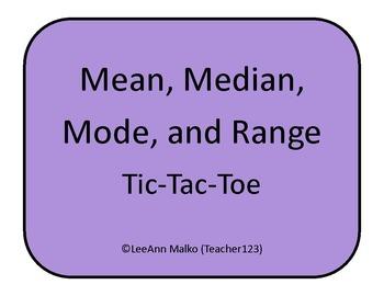 Mean, Median, Mode, and Range Tic-Tac-Toe