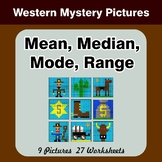 Mean, Median, Mode, and Range - Western Mystery Pictures