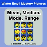 Mean, Median, Mode, and Range - Winter Emoji Mystery Pictures