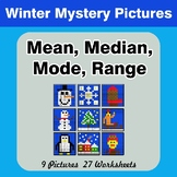 Mean, Median, Mode, and Range - Winter Mystery Pictures