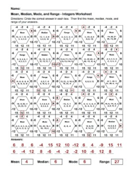 Mean, Median, Mode, and Range Integer Hexagons Worksheet - Partner ...