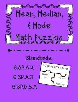 Mean, Median, & Range Task Card Puzzles