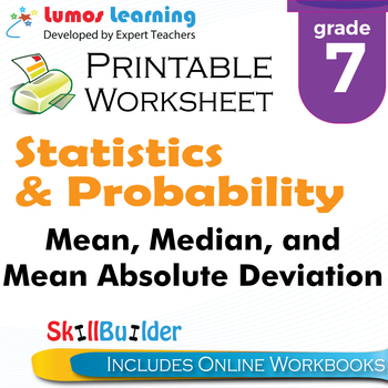 Mean, Median, and Mean Absolute Deviation Printable Worksheet, Grade 7