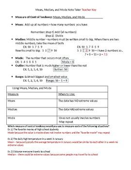 PreAlgebra: Mean, Median, and Mode BUNDLE