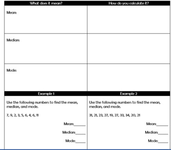 Mean, Median, and Mode Guided Notes