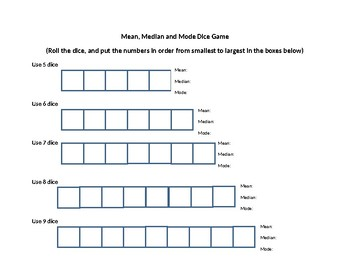 Mean, Median, and Mode Dice Game