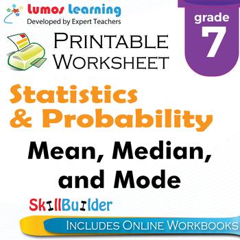 Mean, Median, and Mode Printable Worksheet, Grade 7