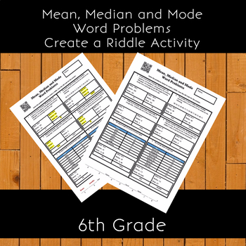 Mean, Median and Mode Word Problems Create a Riddle Activity