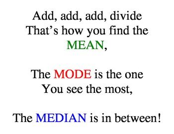 Mean, Median, and Mode poem