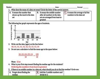 Bundle for Mean, Mode, & Median Crossword Puzzle and Practice Worksheet
