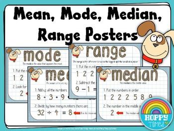 Mean Mode Median Range Display Posters