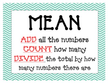 mean mode median range math posters easy steps and kid friendly