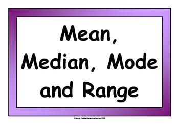 Mean, Mode, Median & Range Poster Display Pack