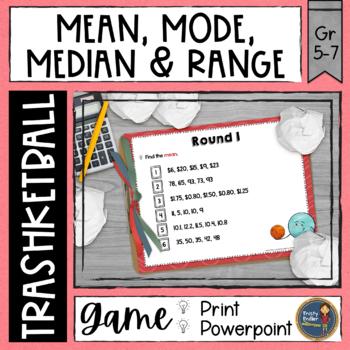 Mean Mode Median Range Trashketball Math Game