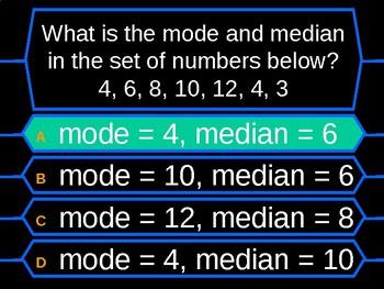 Mean, Mode, Median and Range Millionaire