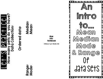 Mean, Mode, Range, and Median Interactive Notebook Brochure