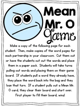 Mean Mr. O {Lessons to Teach Contractions with NOT}