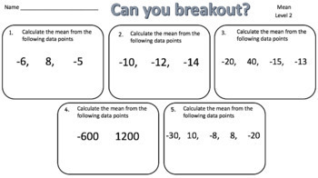 Mean – Two Breakout Activities - Perfect for Google Classroom!