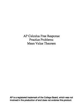 Mean Value Theorem - AP Calculus Practice Questions