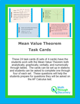 Mean Value Theorem Task Cards