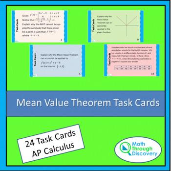 Mean Value Theorem Task Cards
