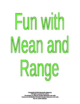 Mean and Range Lesson Plan