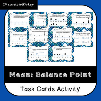 Mean as a Balance Point Task Cards
