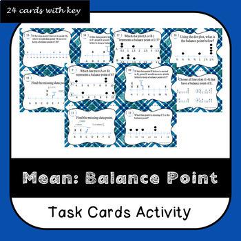 Mean as a Balance Point Task Cards