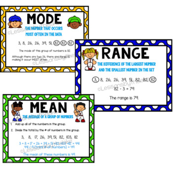 Mean, median, mode posters (baseball theme)
