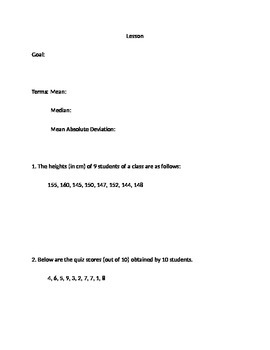 Mean of Absolute Deviation (MAD) notes