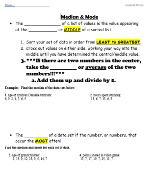 Mean, Median, Mode & Range - GUIDED NOTES