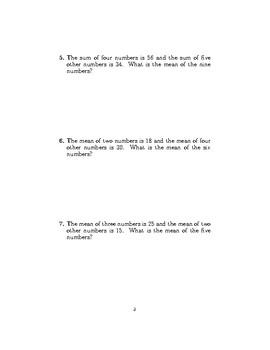 Mean worksheet no 3