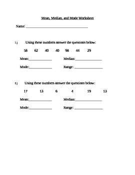 Mean/Median/Mode Review Worksheet
