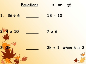 Meaning of an Equation Notes and Assignments on Smartboard