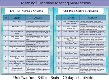 Meaningful Morning Meeting Mini-Lessons: Unit 2 - Your Brilliant Brain