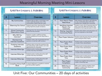 Meaningful Morning Meeting Mini-Lessons: Unit 5 - Our Communities
