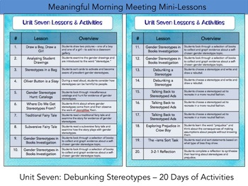 Meaningful Morning Meeting Mini-Lessons: Unit 7 - Debunking Stereotypes