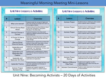Meaningful Morning Meeting Mini-Lessons: Unit 9 - Becoming Activists