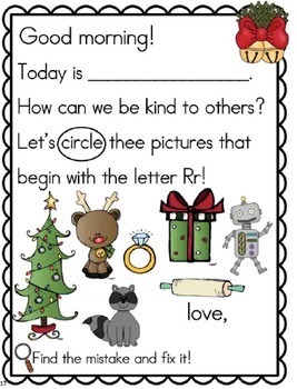 Meaningful Morning Messages for December (Kindergarten)