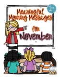 Meaningful Morning Messages for November (1st Grade)