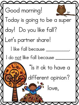Meaningful Morning Messages for November (Kindergarten) by