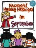 Meaningful Morning Messages for September (1st Grade)