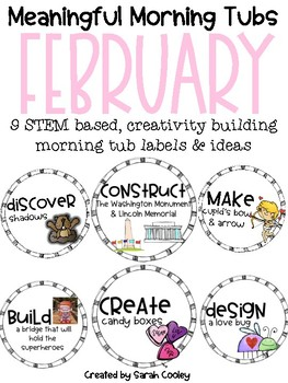 Meaningful Morning Tubs:  February STEM Based & Creativity Building Morning Work