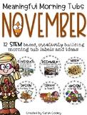 Meaningful Morning Tubs:  November STEM Based & Creativity Building Morning Work